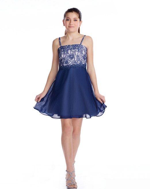 Çocuk Abiye Kıyafet Modelleri Modelleri Mavi Kısa Askılı Kloş Etek Güpür Dantelli
