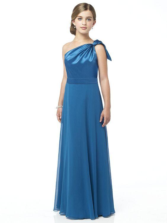 Çocuk Abiye Kıyafet Modelleri Modelleri Mavi Uzun Tek Omzu Açık Tüllü Etek