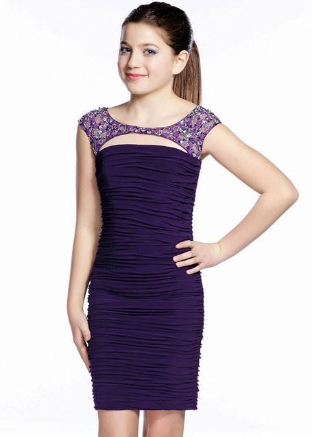Mezuniyet Elbise Modelleri Mor Kısa Kepçe Yaka Kısa Kollu Boncuk İşlemeli