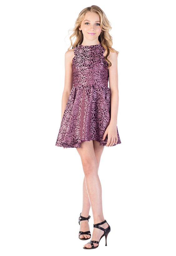 Çocuk Abiye Kıyafet Modelleri Modelleri Mor Kısa Kolsuz Kloş Etek Gül Baskı Desenli