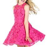 Mezuniyet Elbise Modelleri Pembe Kısa Kolsuz Kloş Etek Güpür Dantelli