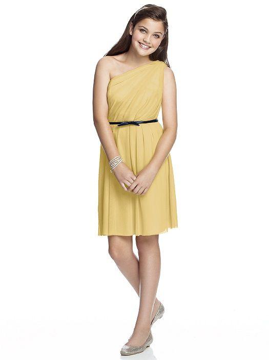 Çocuk Abiye Kıyafet Modelleri Modelleri Sarı Kısa Tek Omzu Açık Belden Siyah Kemerli