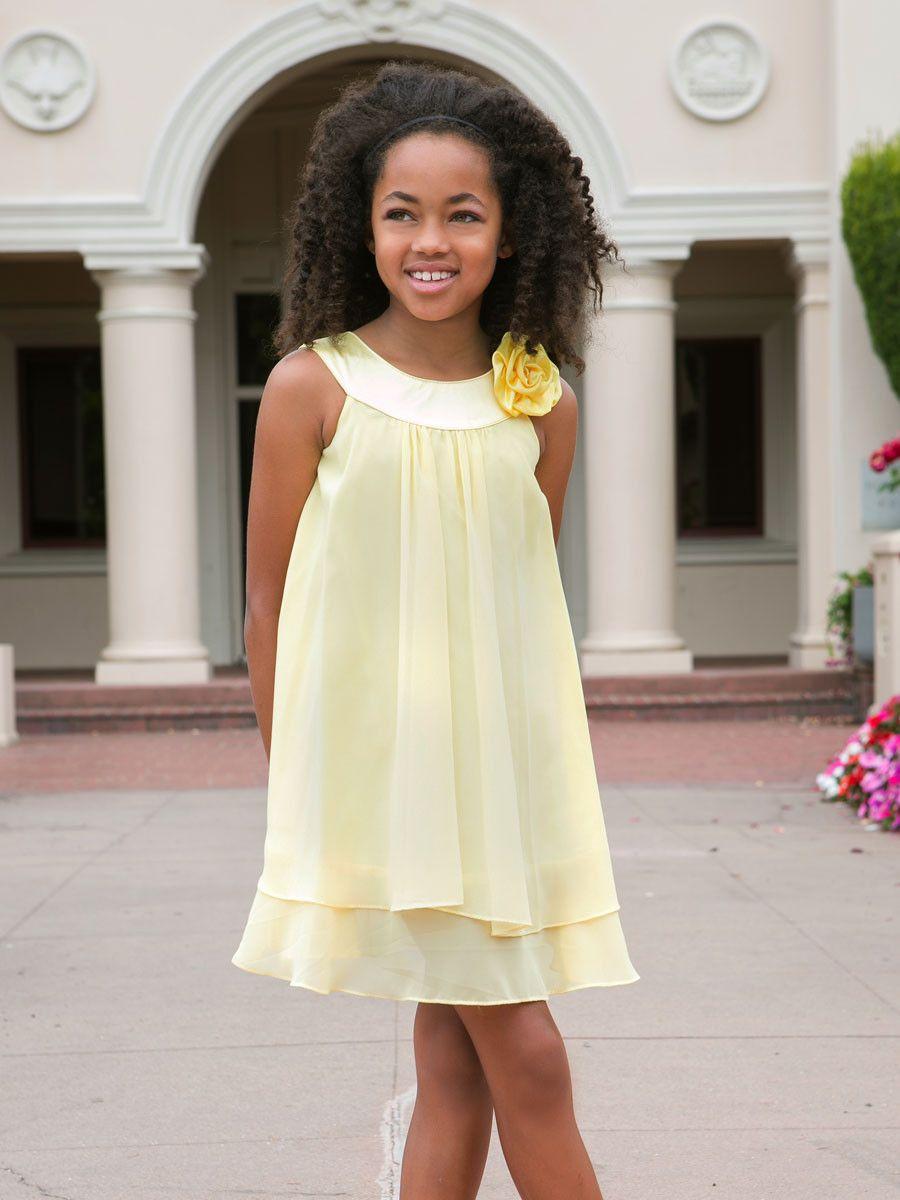Mezuniyet Elbise Modelleri Sarı Kısa Yuvarlak Yaka Şifon Katmanlı Tül Çiçek Süslü