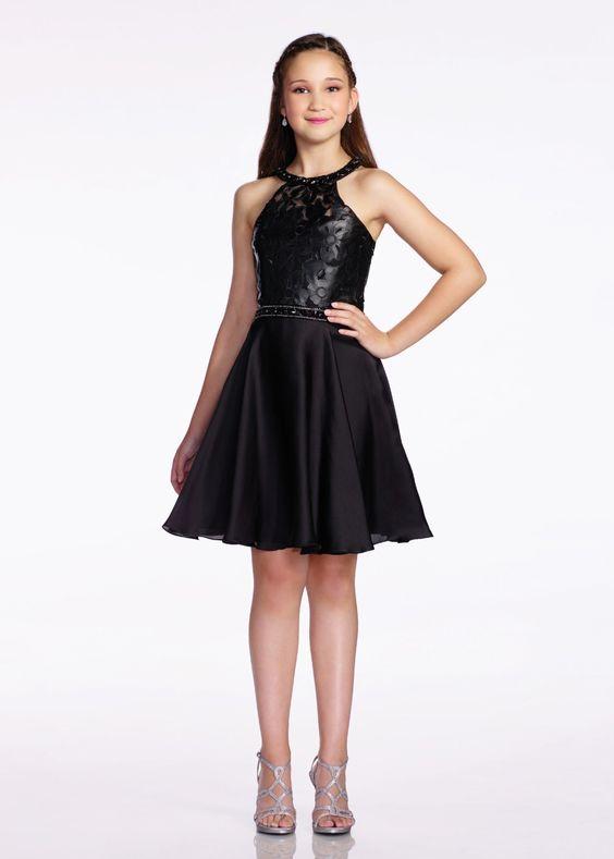 Çocuk Abiye Kıyafet Modelleri Modelleri Siyah Kısa Halter Yaka Kloş Etek Üst Kısmı Çiçek Baskılı
