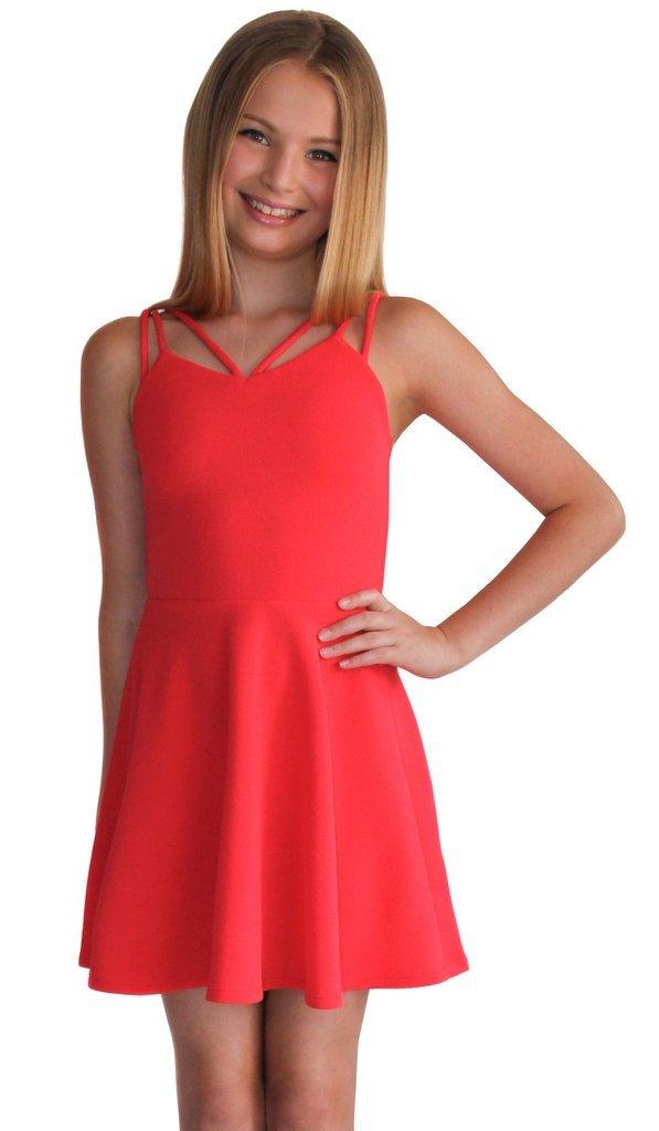 Mezuniyet Elbise Modelleri Turuncu Kısa Askılı Sade ve Şık