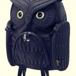 Sırt Çantası Modelleri Siyah Fermuarlı Baykuş Figür