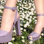 Stiletto Ayakkabı Modelleri Eflatun Topuklu Platform Bilekten Bağlı