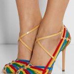Stiletto Ayakkabı Modelleri Gökkuşağı Topuklu Çapraz Kemerli