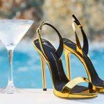 Stiletto Ayakkabı Modelleri Gold Topuklu Bilekten Bağlamalı