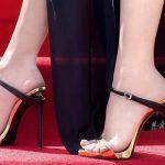 Stiletto Ayakkabı Modelleri Gold Topuklu Bilekten Siyah Kemerli