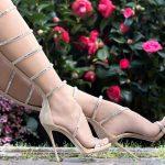 Stiletto Ayakkabı Modelleri Gold Topuklu Diz Boyu Şerit Kemerli Fermuarlı