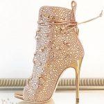 Stiletto Ayakkabı Modelleri Gold Topuklu Komple Taşlı ip Bağcıklı