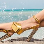 Stiletto Ayakkabı Modelleri Gold Topuklu Platform Önü Açık