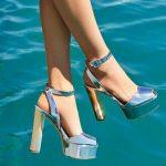 Stiletto Ayakkabı Modelleri Gümüş Topuklu Platform Önü Açık Bilekten Bağlı