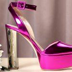 Stiletto Ayakkabı Modelleri Pembe Topuklu Platform Önü Açık