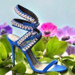 Stiletto Ayakkabı Modelleri Saks Mavi Bilekten Yaprak Taş İşlemeli
