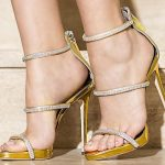 Stiletto Ayakkabı Modelleri Sarı Topuklu Taşlı Fermuarlı