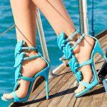 Stiletto Ayakkabı Modelleri Turkuaz Mavi Topuklu Önden Yapraklı