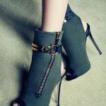 Stiletto Ayakkabı Modelleri Yeşil Topuklu Önden Açık Fermuar Ve Kemerli