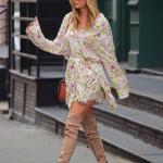2019-2020 Taylor Swift Sonbahar Modası Kısa Elbise, Süet Diz Üstü Bot