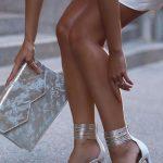 Topuklu Ayakkabı Modelleri Beyaz Bilekten Hasır Kemerli