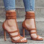 Topuklu Ayakkabı Modelleri Kahve Bilekten Kemerli