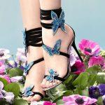 Topuklu Ayakkabı Modelleri Siyah Kelebek Desenli