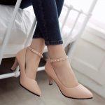 Topuklu Ayakkabı Modelleri Yavruağzı Ayak Bileği İncili