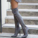 Çizme Modelleri Gri Topuklu Yandan Çapraz Bağcıklı