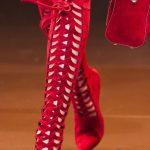 Çizme Modelleri Kırmızı Topuklu Önden Kafesli