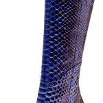 Çizme Modelleri Mavi Topuklu Yılan Derisi