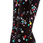 Çizme Modelleri Siyah Topuklu Renkli Taş Süslemeli