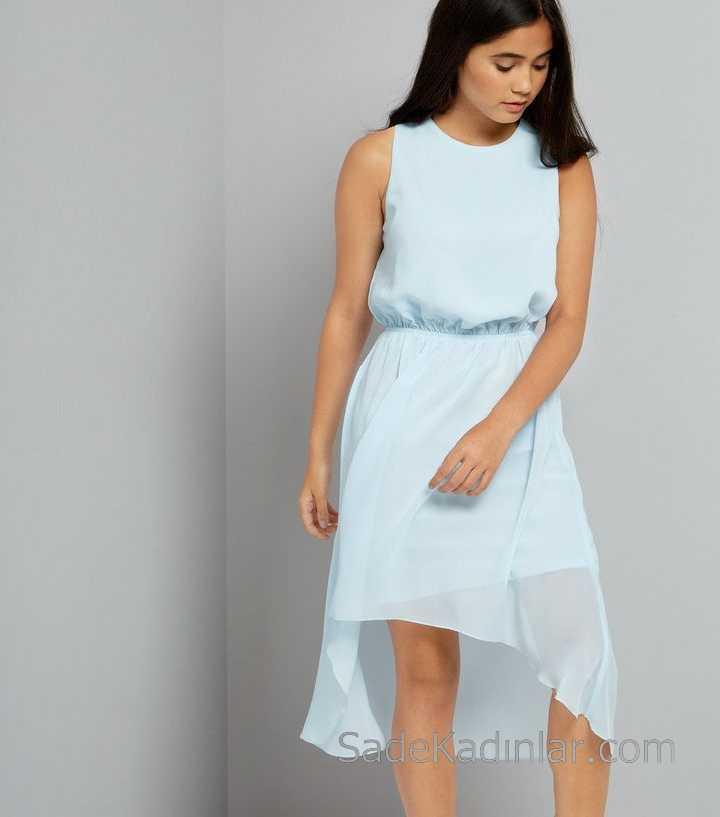 Çocuk Abiye Elbise Bebek Mavisi Kolsuz Asimetrik Kesim Şifon 12 - 15 Yaş Elbise