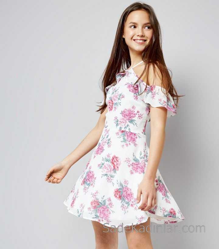 Çocuk Abiye Elbise Beyaz Kısa Boyundan İp Askılı Omzu Açık Çiçek Desenli kız çocuk elbise