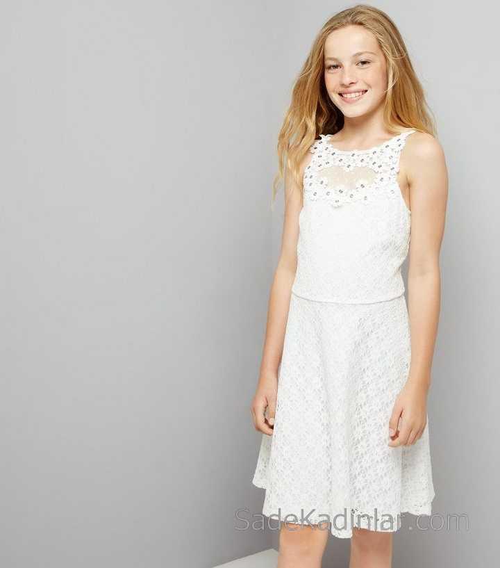 2021 Çocuk Abiye Elbise Beyaz Kısa Kolsuz Dantelli Çiçek Süslemeli kız çocuk elbise