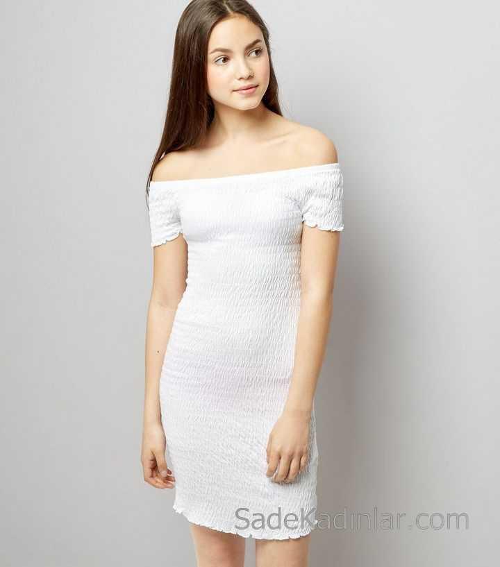 2020 Çocuk Abiye Elbise Beyaz Omzu Açık Düşük Kol Sade Ve Şık kız çocuk elbise