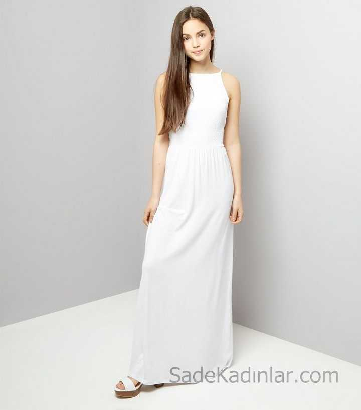 4b8e7d30e67c4 Çocuk Abiye Elbise Beyaz Uzun Askılı KOlsuz Bürümcük Dökümlü kız çocuk  elbise. «