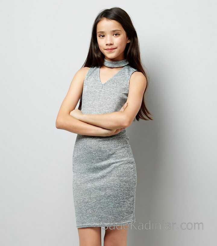Çocuk Abiye Elbise Gri Örgü Triko Kız Çocuk Elbise