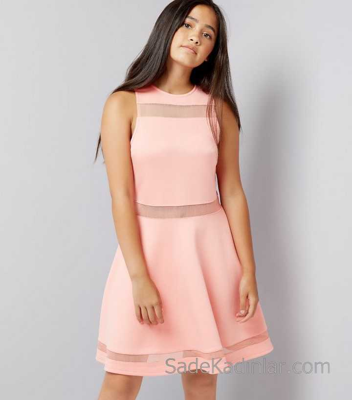 2020 Çocuk Abiye Elbise Pudra Kolsuz Kısa Transparan Tüllü Kız Çocuk Elbise