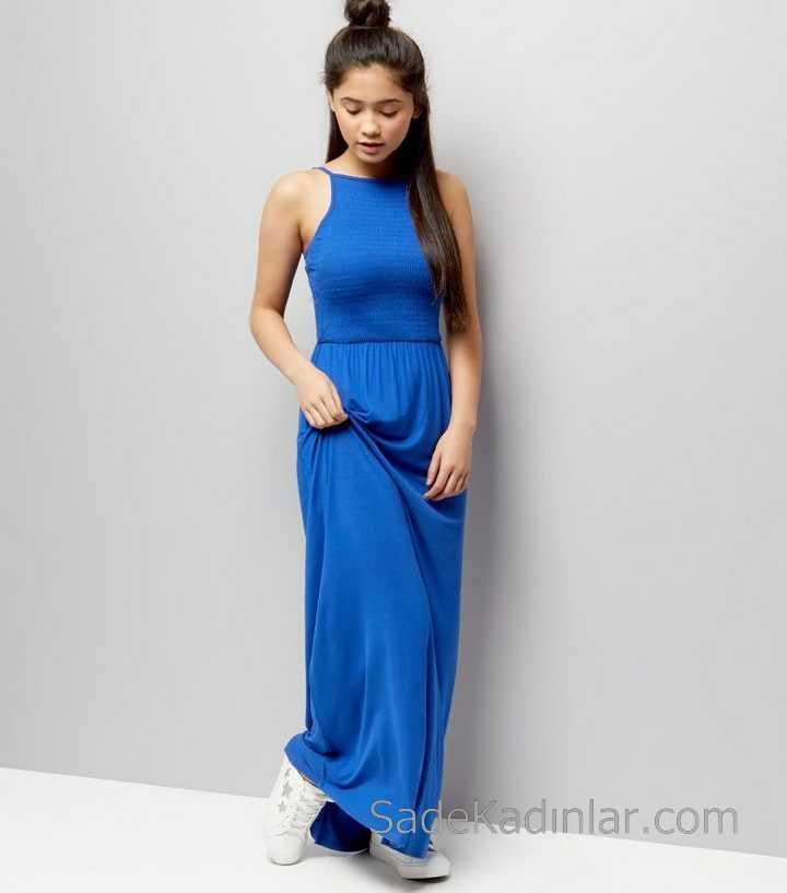 0d4c3c107dc89 Çocuk Abiye Elbise Saks Mavi Uzun Boyundan Askılı Bürümcük Kız Çocuk Elbise
