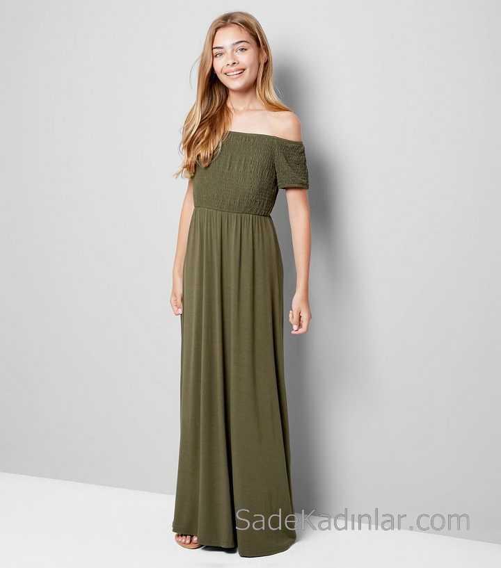 Çocuk Abiye Elbise Yeşil Uzun Omzu Açık Düşük Kol Bürümcük Kız Çocuk Elbise