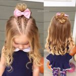 Çocuk Saç Modelleri Salık Önden Yarım Toplu Çift Örgülü