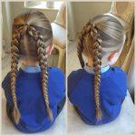 Çocuk Saç Modelleri Örgü Önden Toplanmış Arkası İkili Örgülü