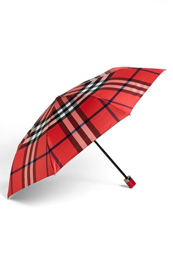 Şemsiye Modelleri Kırmızı Ekose Kumaş Desenli