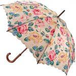 Şemsiye Modelleri Krem Büyük Gül Desenli