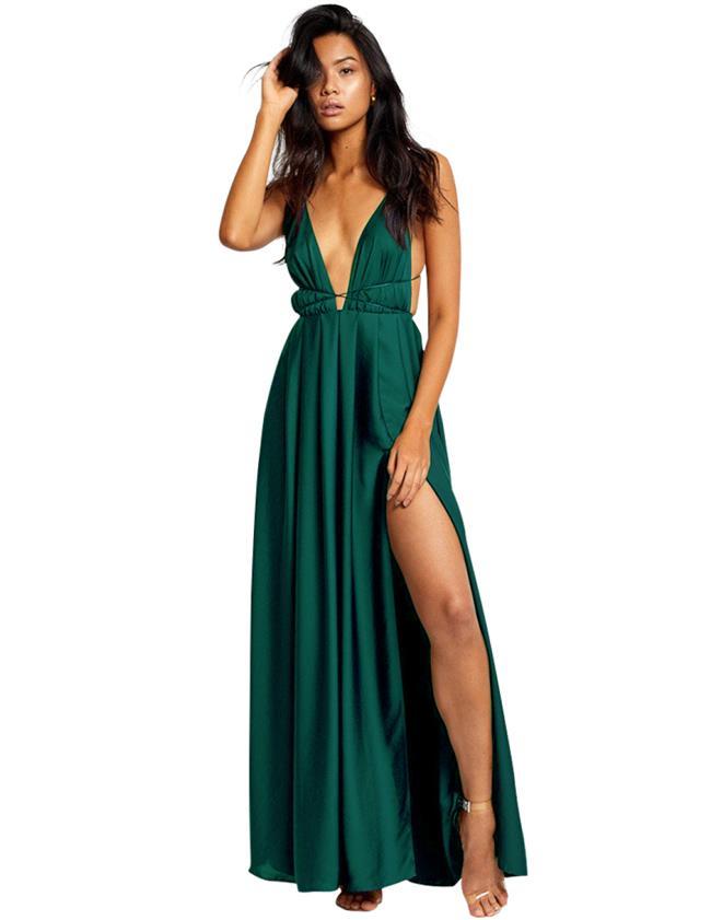 2020 Abiye Modelleri Ünlü Markaların Son Moda Gece Elbiseleri dcey Derin V yaka Sırt dekolteli İpli Dökümlü etek Bacak Yırtmacı