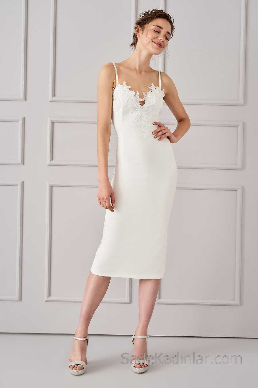 2021 Beyaz Elbise Modelleri Askılı Dantelli Yaka