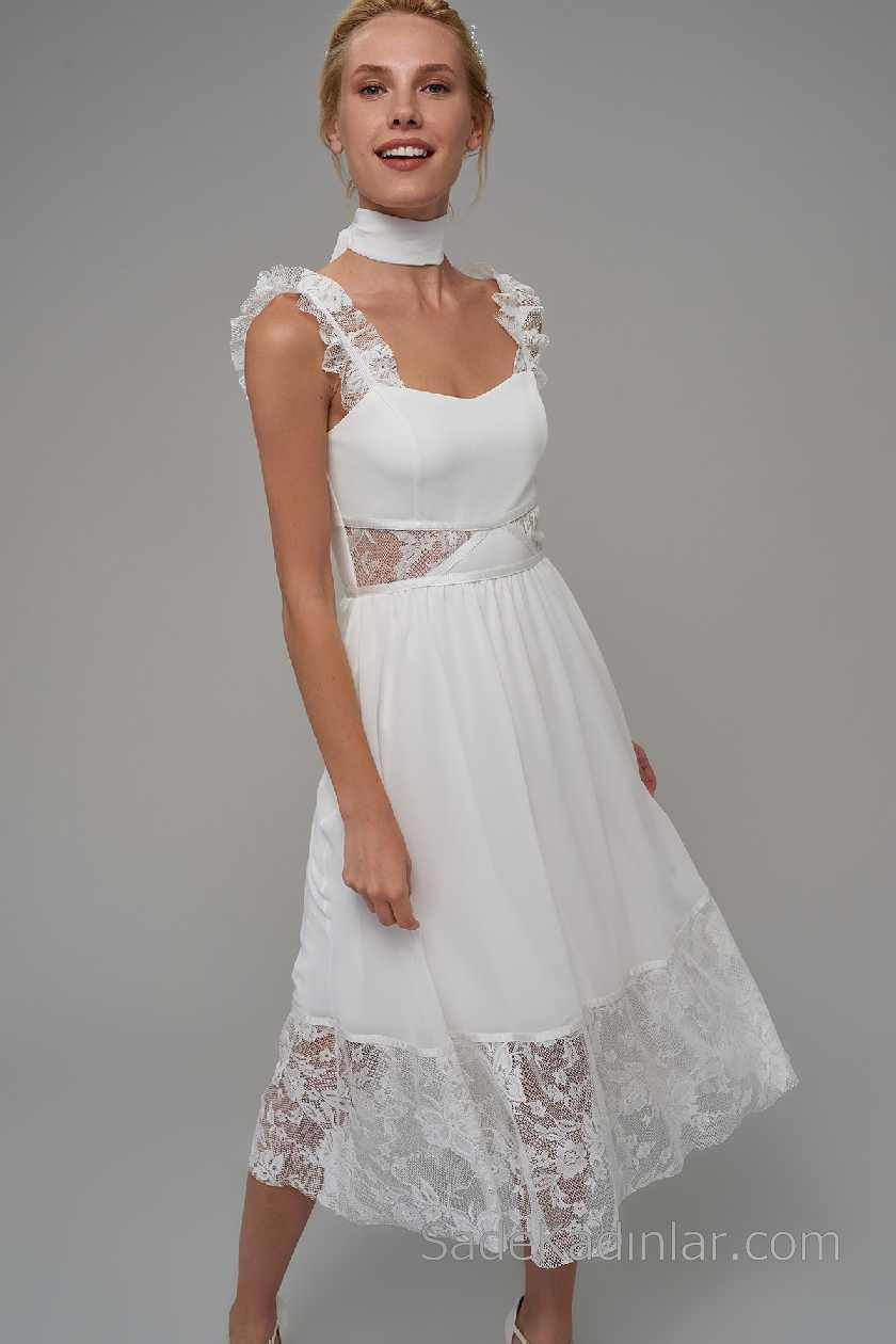2021 Beyaz Elbise Modelleri Askılı Kalp Yaka Tül Detaylı