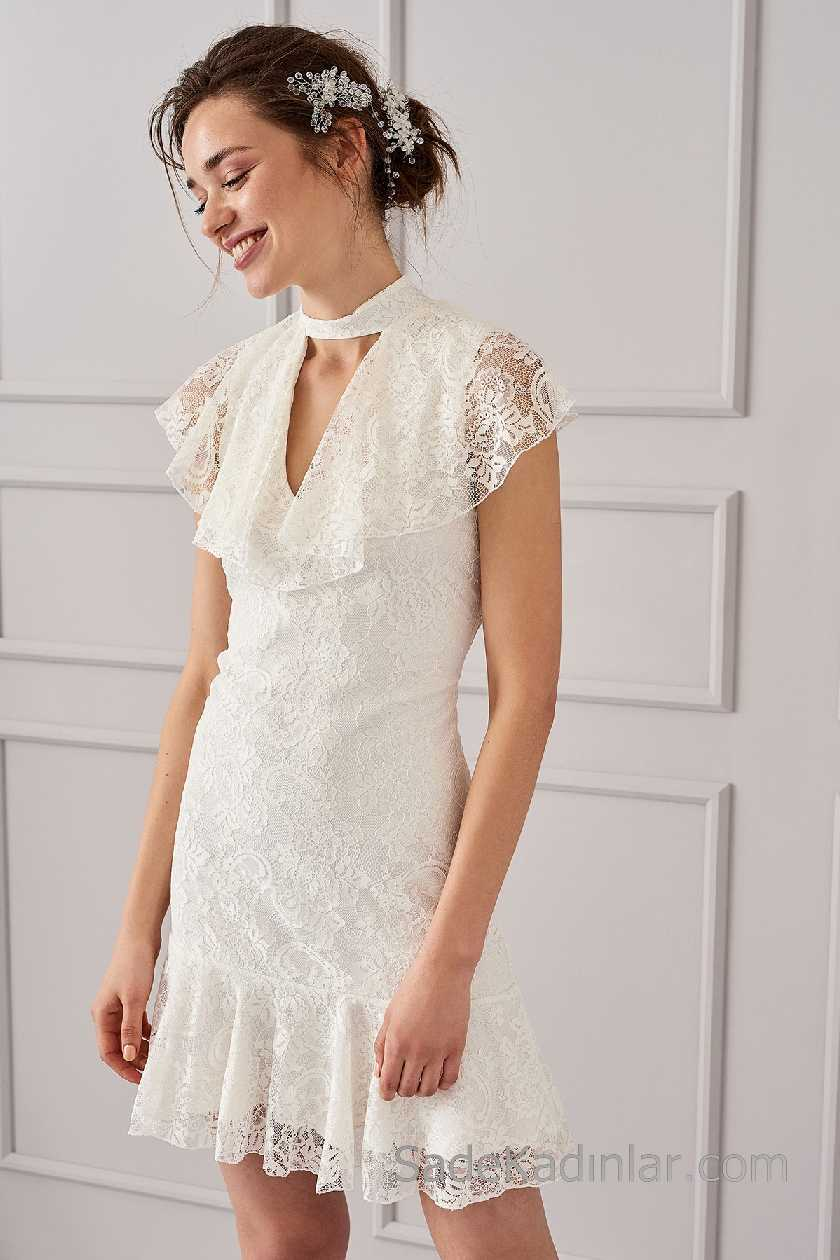 2021 Beyaz Elbise Modelleri Boyundan V Yaka Fırfır Kollu