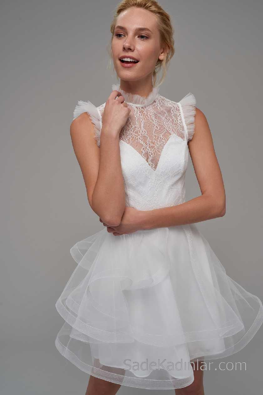 2021 Beyaz Elbise Modelleri Kolsuz Tüllü Transparan yaka